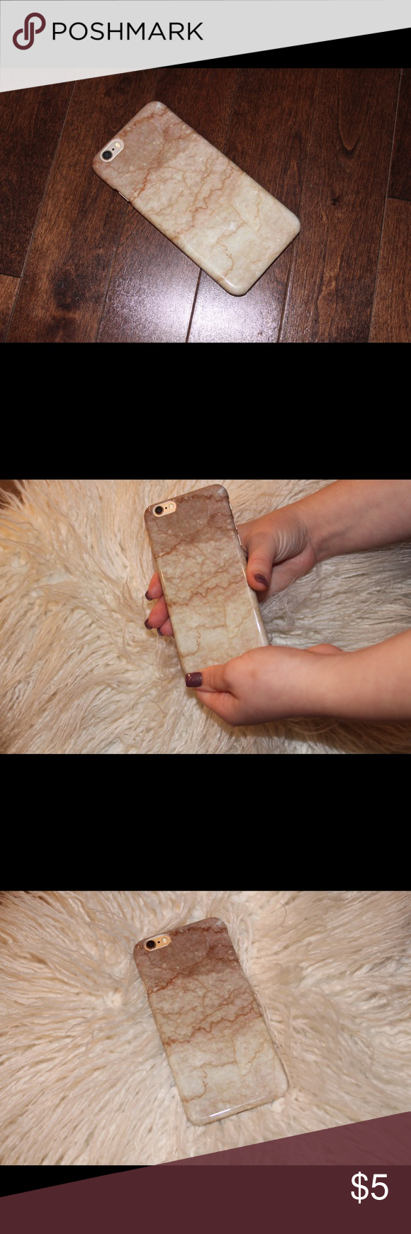 iPhone 6 phone case. Tan and white marble iPhone 6 phone case. Accessories Phone Cases