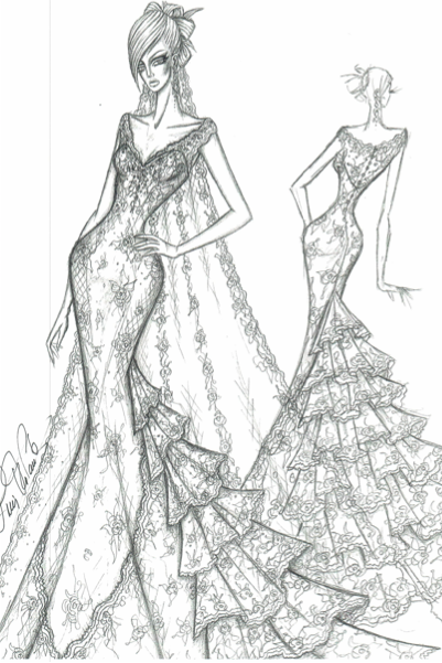 Ines Di Santo gown wedding dress sketch for anne hathaway | dresses ...