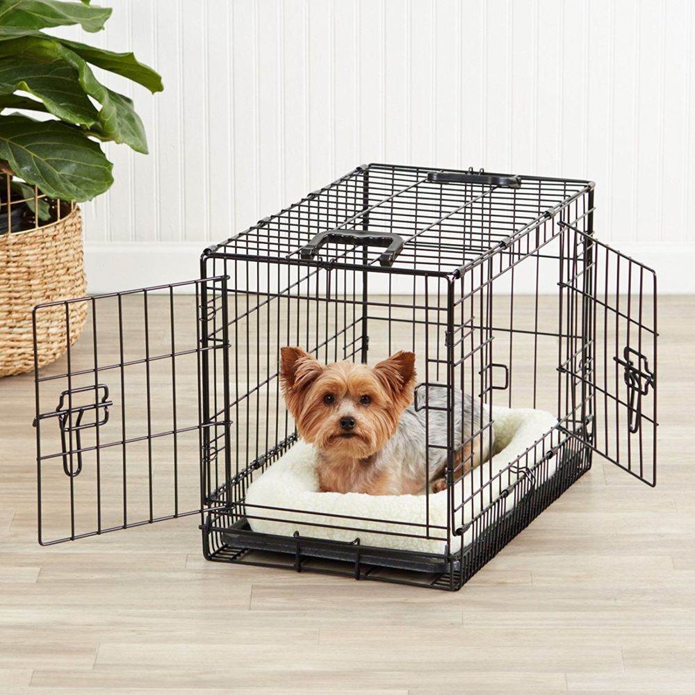 Dog Kennel Crate Cat Small Pet Indoor Folding Cage 2 Doors Metal