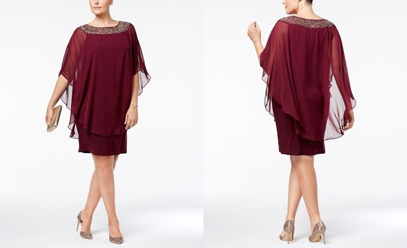 5946d5a6270 Xscape Plus Size Beaded Chiffon Capelet Dress - Dresses - Women - Macy s