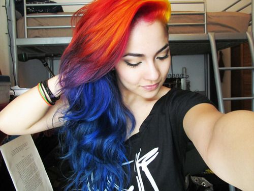 Yellow Red Orange And Blue Hair Sunset Hair Hair Styles