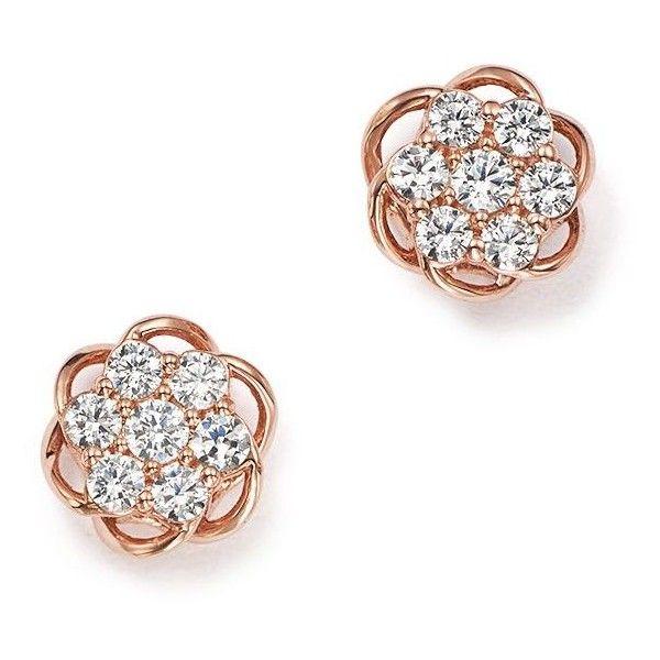 Diamond Flower Stud Earrings In 14k Rose Gold 25 Ct T W 100 1 275 Liked On Polyvore Featuring Jewelry Earr Stud Earrings Rose Gold Jewelry