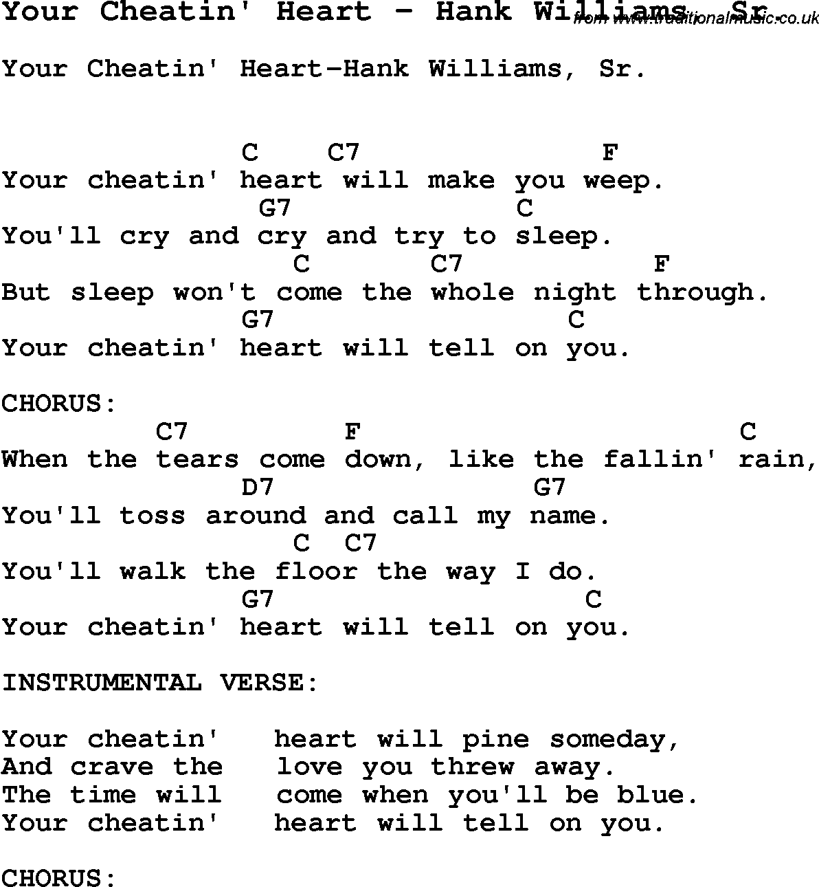 Song your cheatin heart by hank williams sr with lyrics for song your cheatin heart by hank williams sr song lyric for vocal performance plus accompaniment chords for ukulele guitar banjo etc hexwebz Choice Image