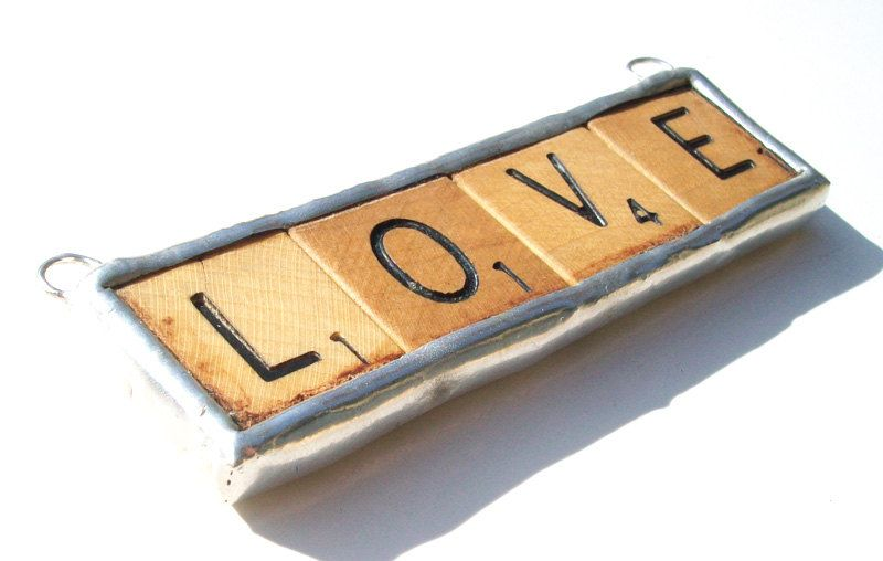All you need is LOVE- handmade extra large recycled scrabble tile mixed media soldered charm pendant. $42.00, via Etsy.