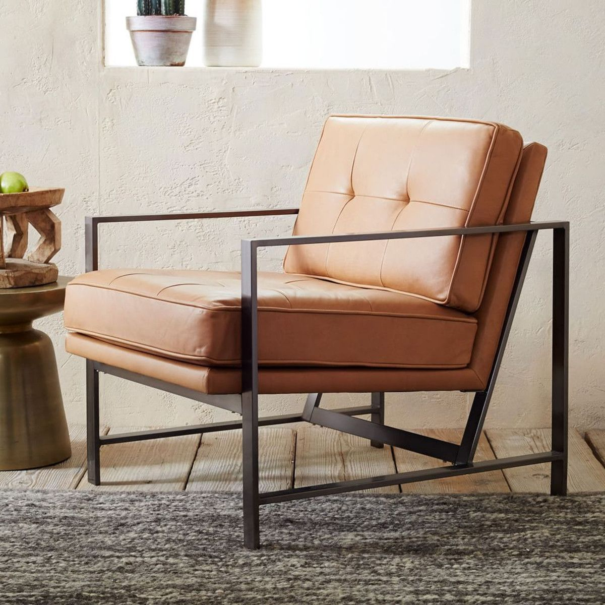 Metal Frame Leather Chair Leather Chair Tufted Leather Chair Upholstered Chairs #west #elm #living #room #chairs