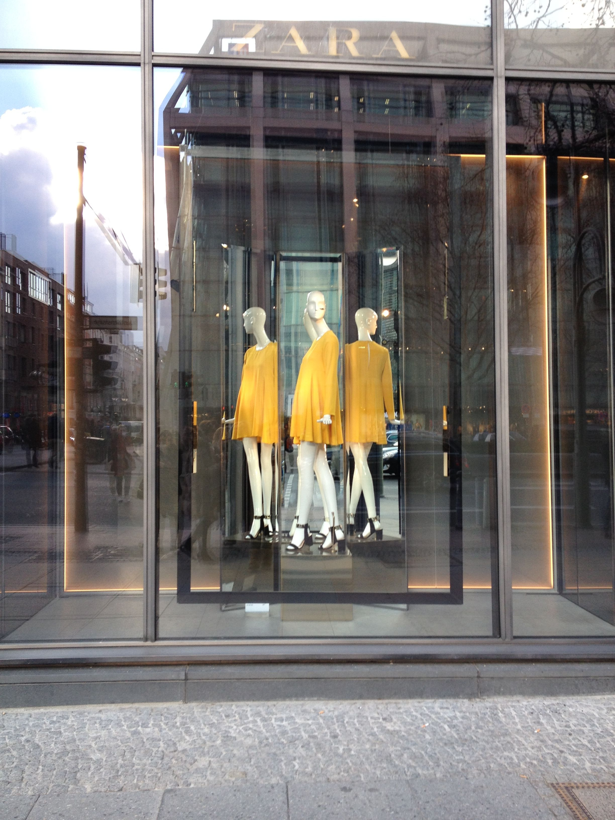 zara store berlin 2014 love the idea of the mirror image and the bright dress on the mannequin. Black Bedroom Furniture Sets. Home Design Ideas