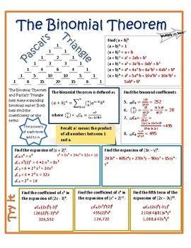 Binomial Theorem Vizual Notes Binomial Theorem Math Methods
