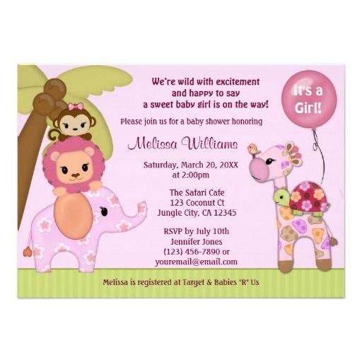 sweet safari baby shower invitation jungle girl ss  baby shower, Baby shower invitation