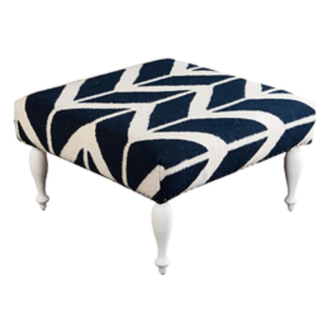 32 Quot Navy Blue And Ivory Chevron Upholstered Wool And