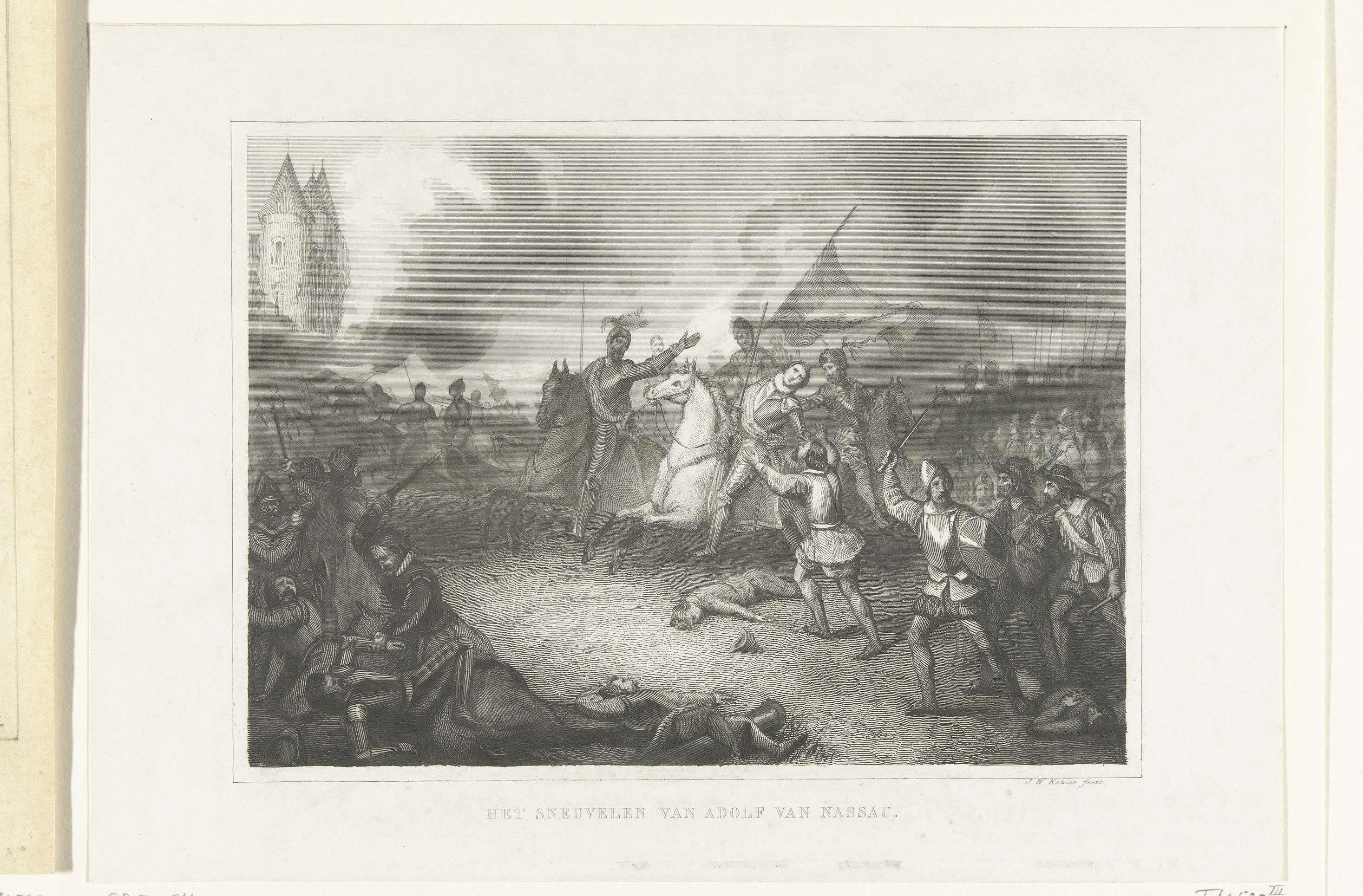 Johann Wilhelm Kaiser (I) | Graaf Adolf van Nassau sneuvelt bij Heiligerlee, 1568, Johann Wilhelm Kaiser (I), 1849 - 1851 | Graaf Adolf van Nassau sneuvelt bij Heiligerlee, 23 mei 1568. In het slagveld valt de graaf dodelijk gewond van zijn paard.