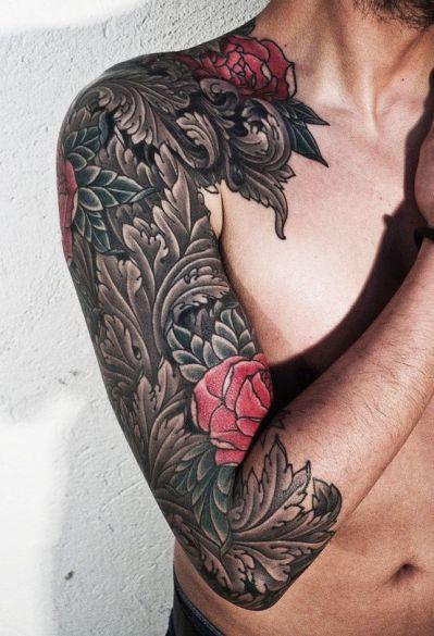 60 Awesome Arm Tattoo Designs Men Flower Tattoo Rose Tattoos For Men Tattoos