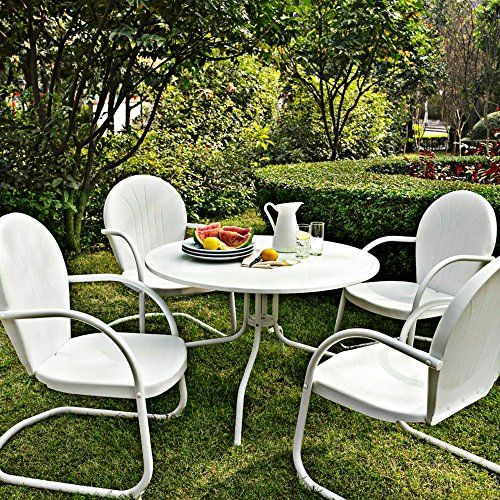 Crosley Kod1004wh 5 Piece Griffith Metal Outdoor Dining Set With