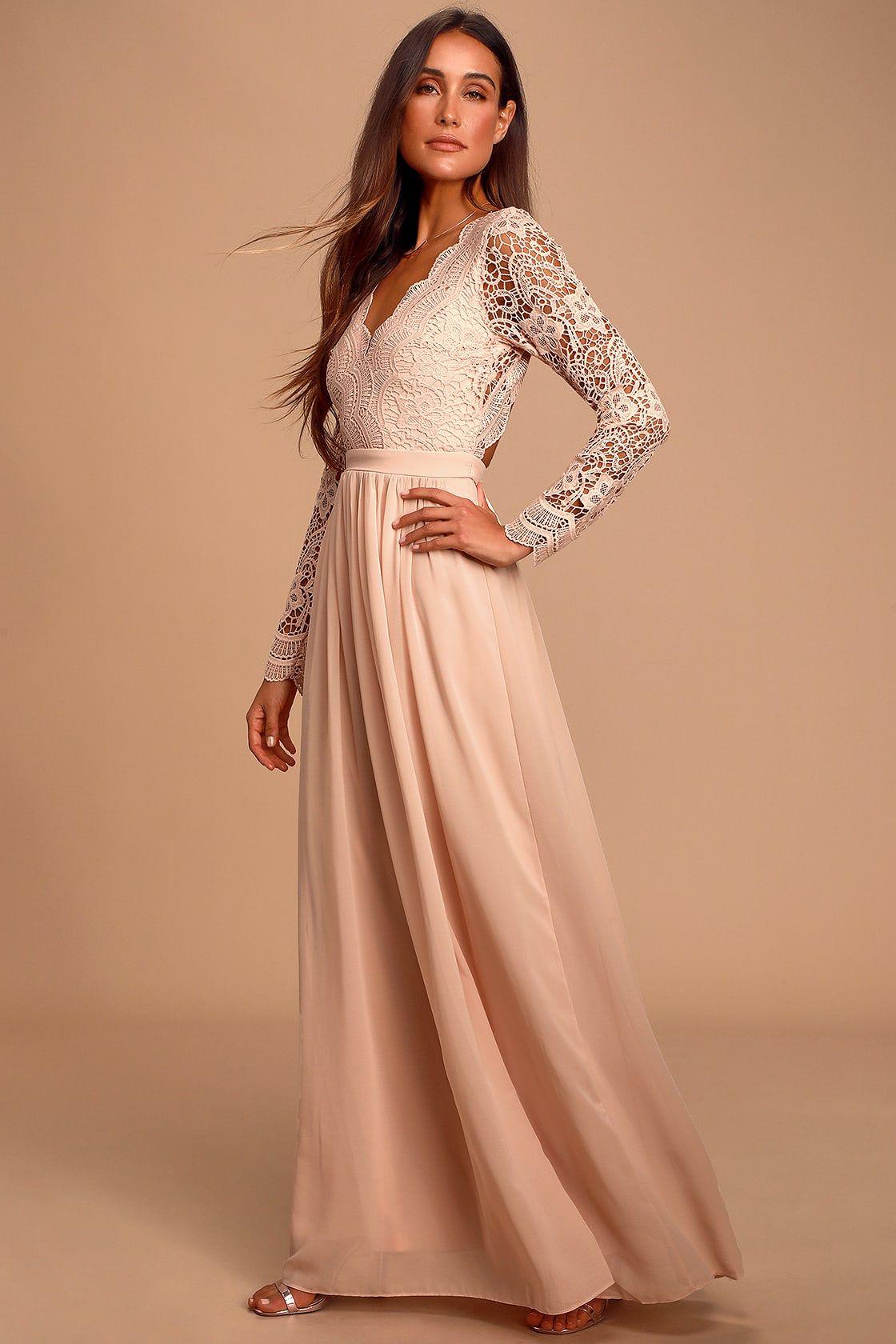 Awaken my love blush pink long sleeve lace maxi dress