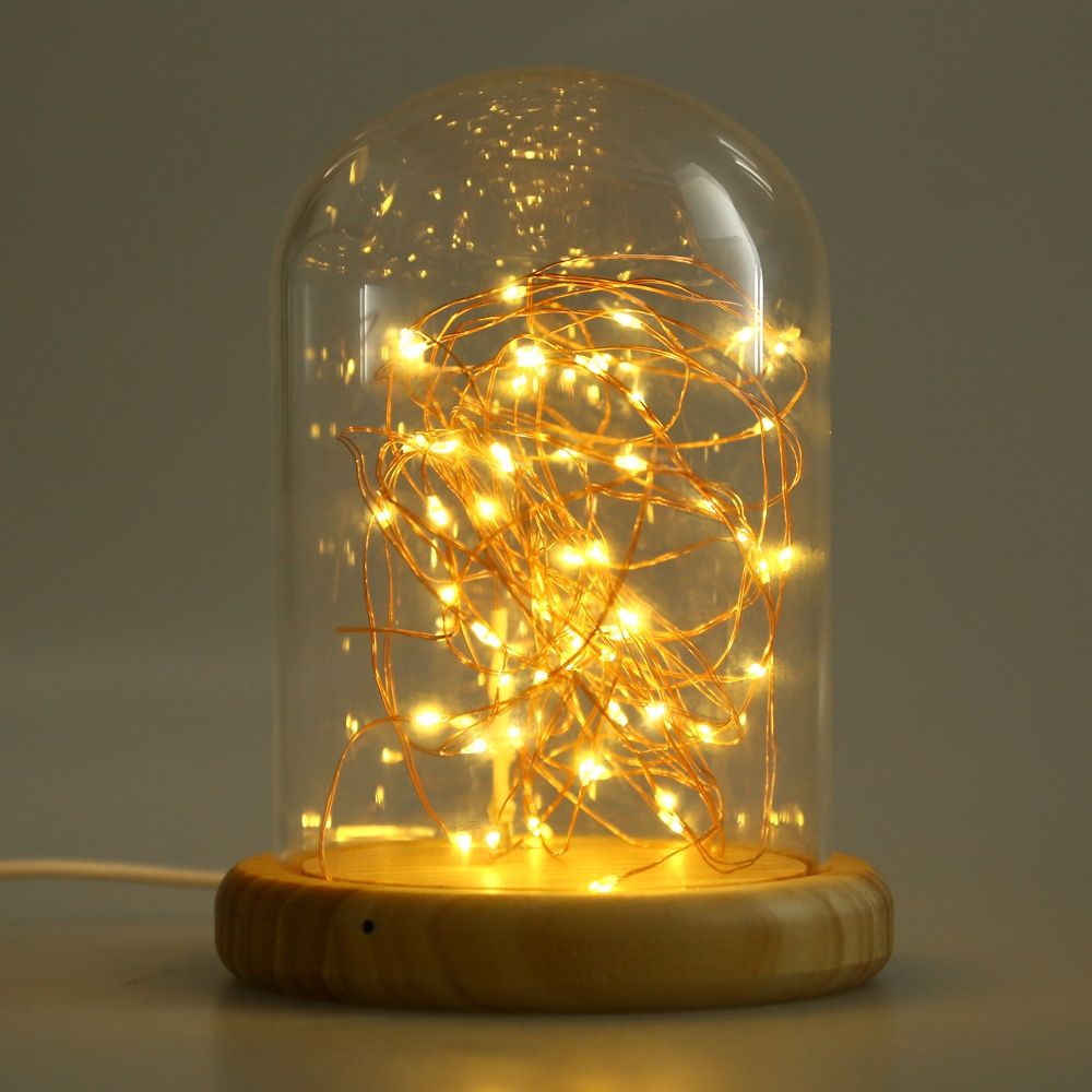 New usb led firework light glass cover table night lamp wood base new usb led firework light glass cover table night lamp wood base bedside night light low geotapseo Images