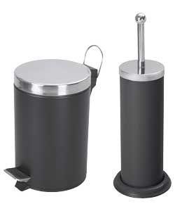 Colourmatch Bathroom Bin And Toilet Brush Set Jet Black