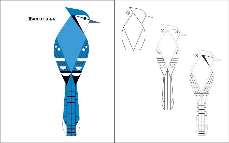 Charley Harper Sketchbook: How to Draw 28 Birds - Blue Jay   harper ...