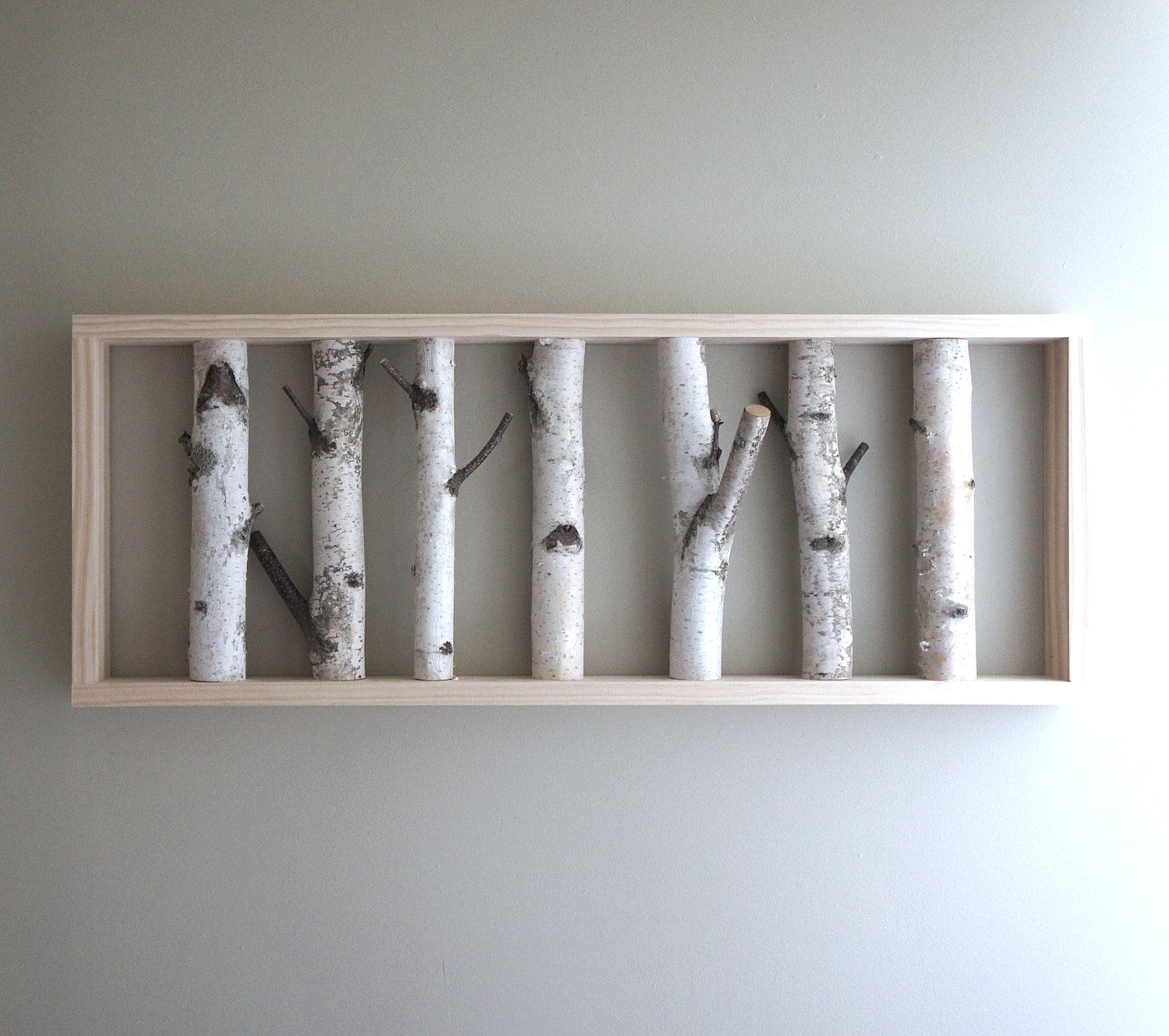 White birch forest wall art 36 x 12 birch branch decor for Diy birch tree wall mural
