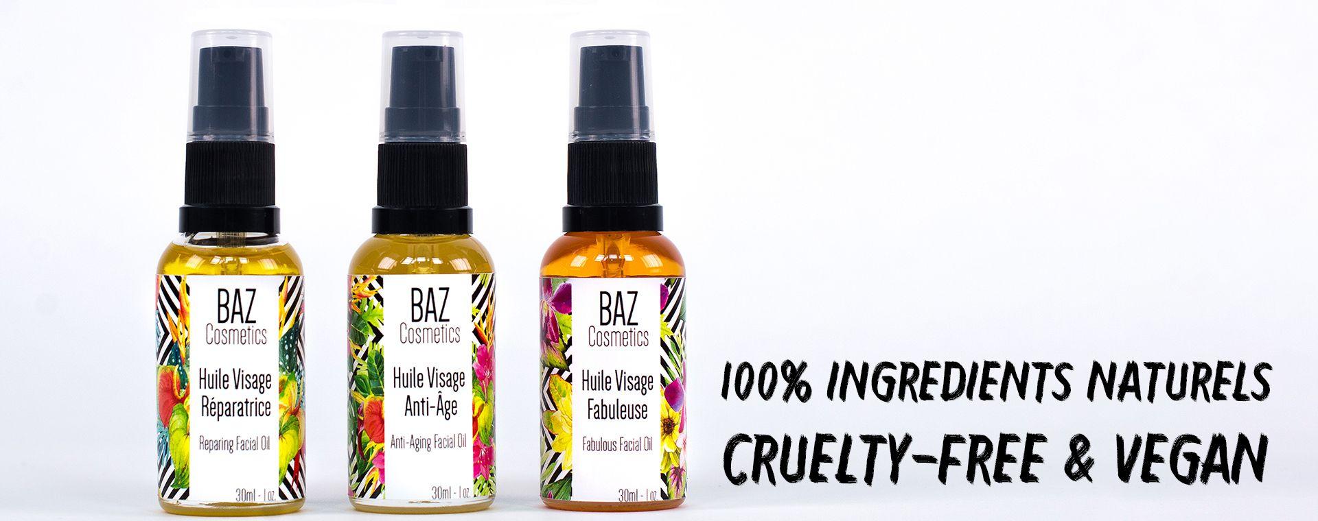 Huiles visage BAZ Cosmetics Vegan, 100 naturelles et
