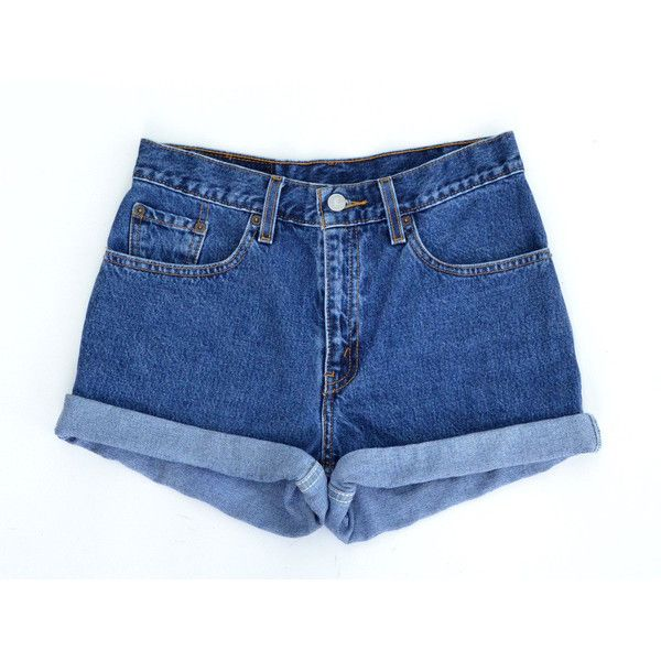 ALL SIZES Vintage Levis High Waisted Cuffed Denim Shorts found on Polyvore