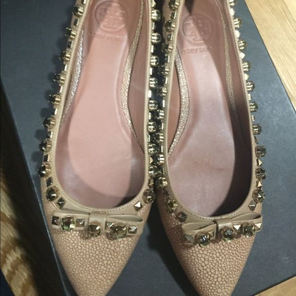 Studded Tory Burch pointed toe flats Authentic Tory Burch pointed toe flats with crystal studs. Very beautiful on! Worn 1 time in great condition! Tory Burch Shoes Flats & Loafers