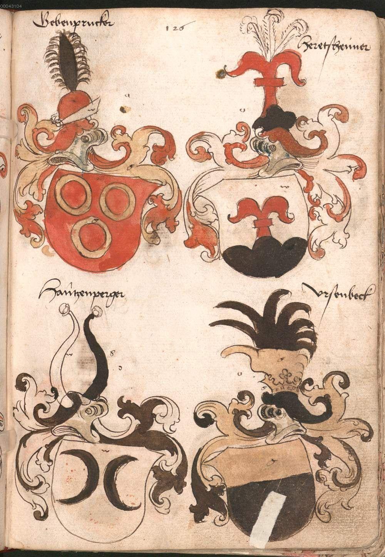 Wernigeroder (Schaffhausensches) Wappenbuch Süddeutschland, 4. Viertel 15. Jh. Cod.icon. 308 n  Folio 126r