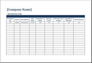 Inventory Count Sheet Download At HttpWwwTemplateinnCom