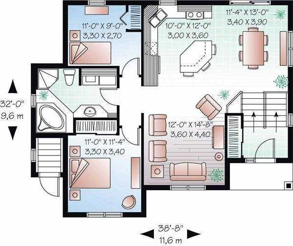 In Law Suite House Plan 4 Bedrms 2 Baths 2056 Sq Ft 126 1048 House Plans House Plans One Story Split Level House Plans