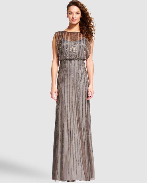 Vestido largo de mujer Adrianna Papell con abalorios   vestidos de ...