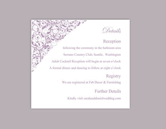 DIY Wedding Details Card Template Editable Download Printable - invitation information template
