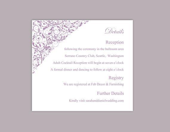 DIY Wedding Details Card Template Editable Download Printable - invitation information template
