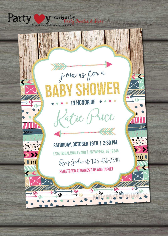 Tribal Baby Shower Invitation, Aztec Baby Shower Invitation, Rustic ...