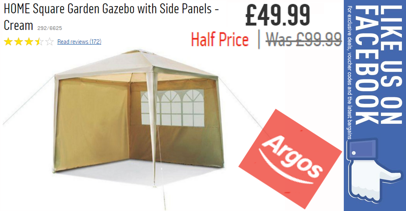 HOME Square Garden Gazebo with Side Panels - Cream at Argos.co.uk - Your Online Shop for Gazebos, marquees and awnings, Garden furniture, Home and garden. | Argos