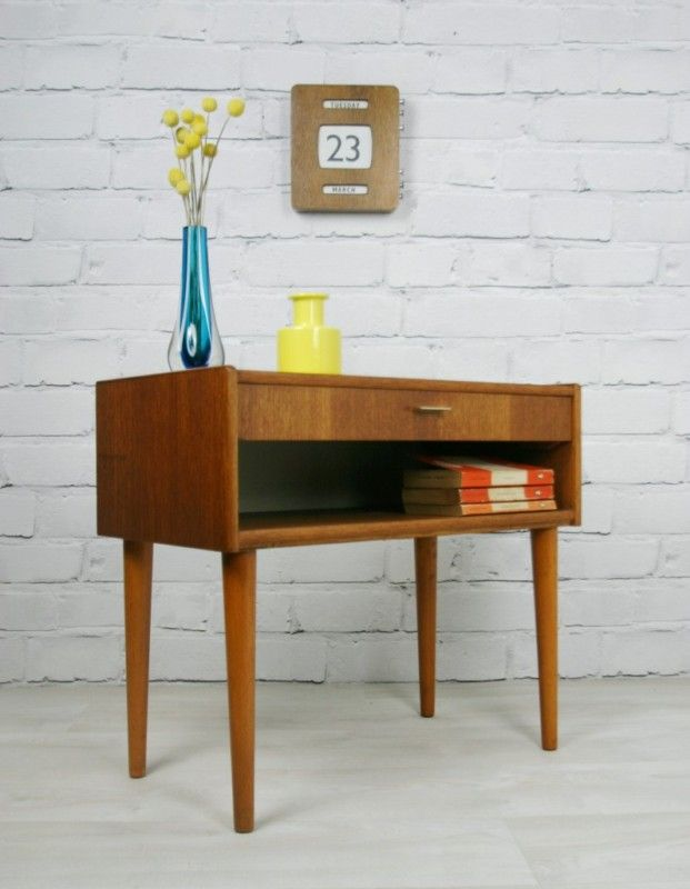 Retro Vintage Danish Teak Midcentury Coffee Bedside Table Cabinet 1950s 60s Home Decor Decor Cool Furniture