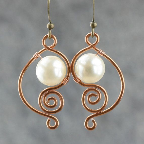 Idea: Use as link, with or without the pearl/bead. copper wiring pearl dangle earrings…
