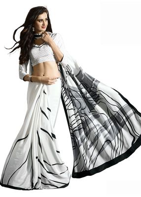 82df65142f Black and White Abstract Printed Saree Roop Kashish Crepe with Blouse Sarees  on Shimply.com
