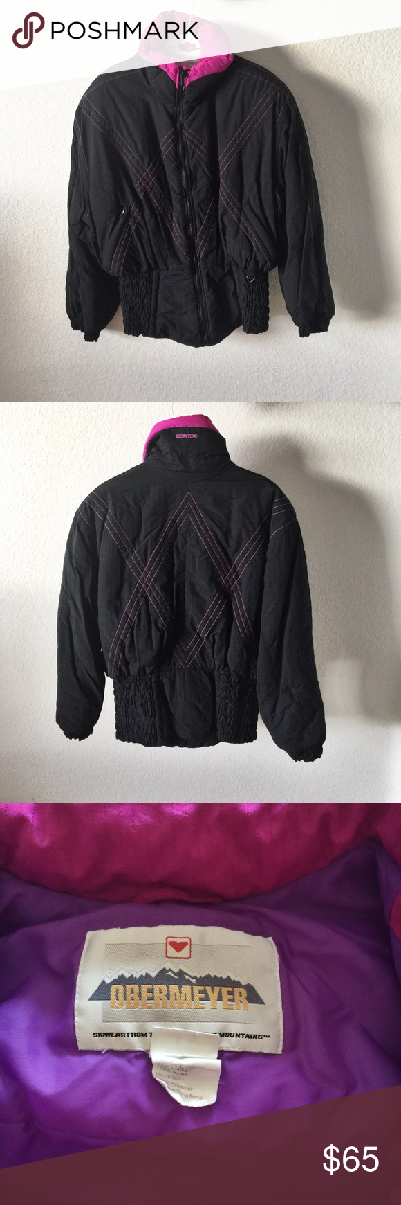 Vintage s ski jacket size black u pink size bright pink