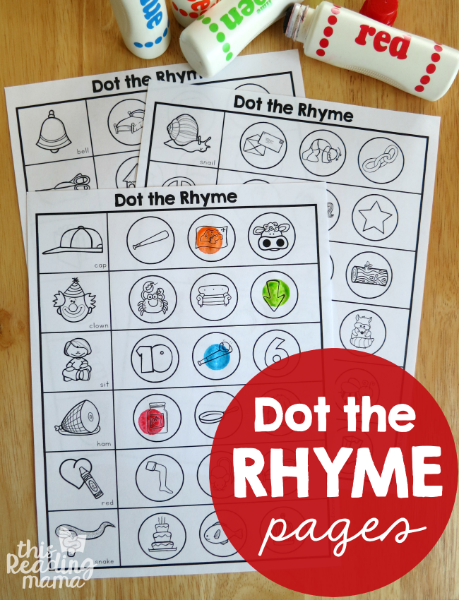 Rhyming Worksheets Dot The Rhyme Og Phonics