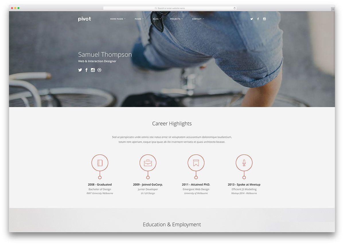 PivotMultipurposeHtmlResumeWebsiteTemplate  Portfolio V