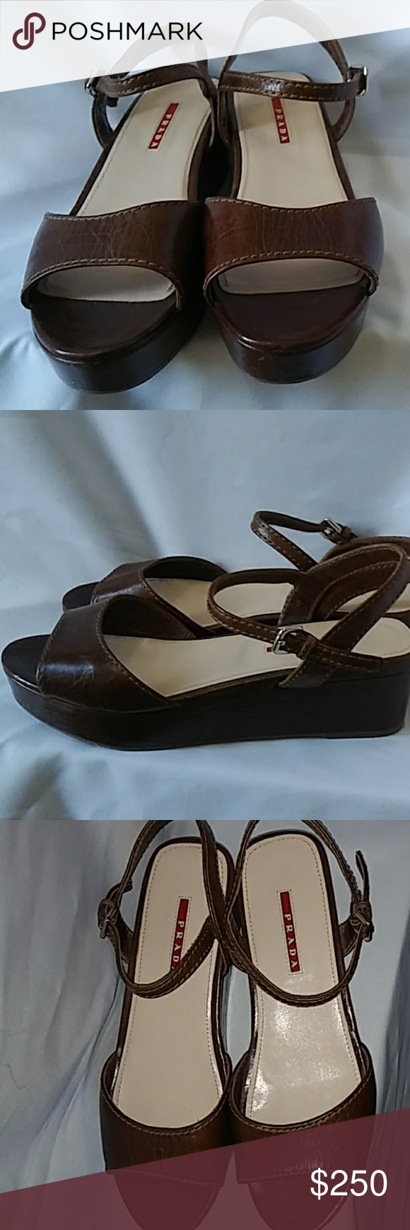 Prada brown wedge sandal Never worn. Size 39 1/2. Brown crinkle leather. Sandal with low wedge. Prada Shoes Wedges #lowwedgesandals