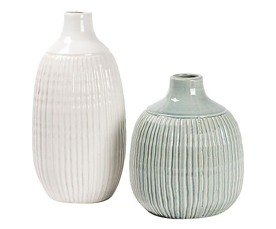 Set di 2 vasi in ceramica Color bianco/azzurro, max 21x26 cm