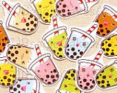Cute Tapioca Bubble Tea Stickers: Kawaii Food Sticker Pack, Party Favors, Planner Sticker, Erin Condren Stickers, ECLP, Scrapbook Decoration