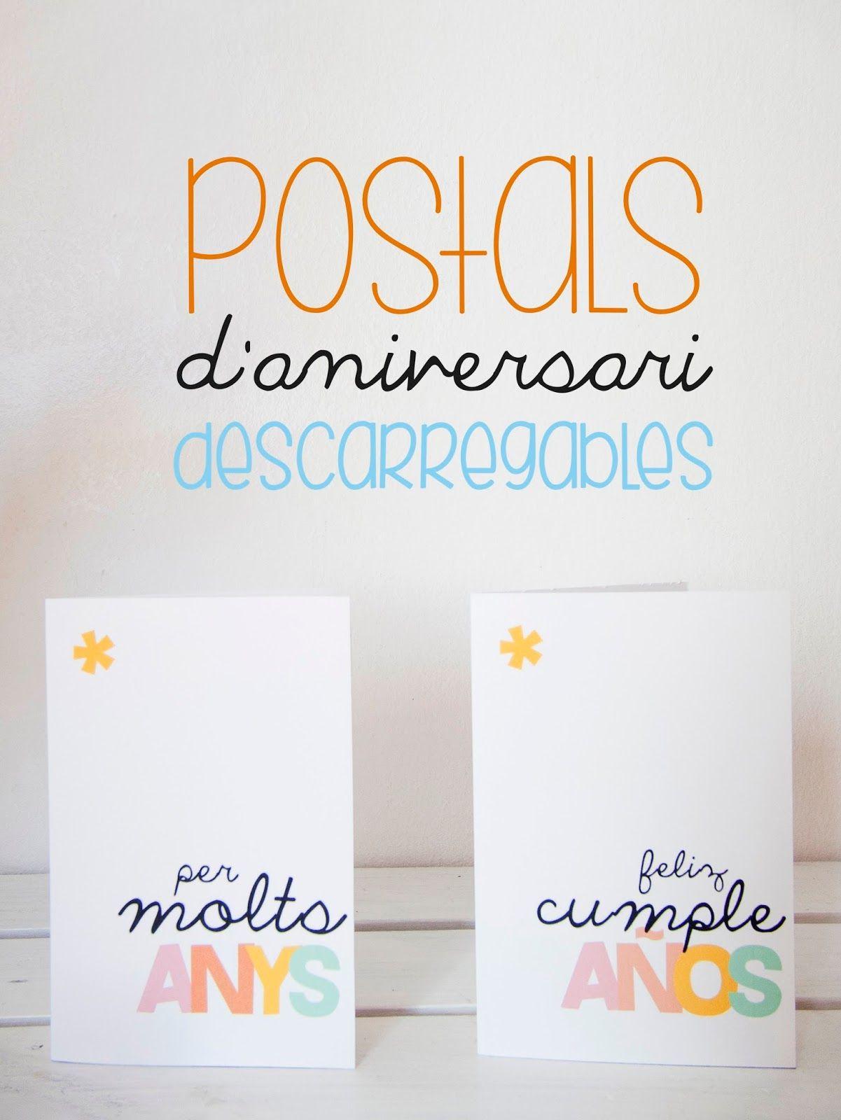 Blog de Coses: POSTAL D\'ANIVERSARI PER DESCARREGAR | Printables ...
