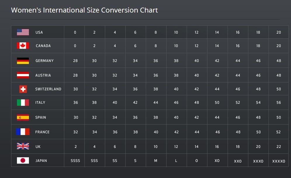 Womens International Size Conversion Chart Beauty Fashion