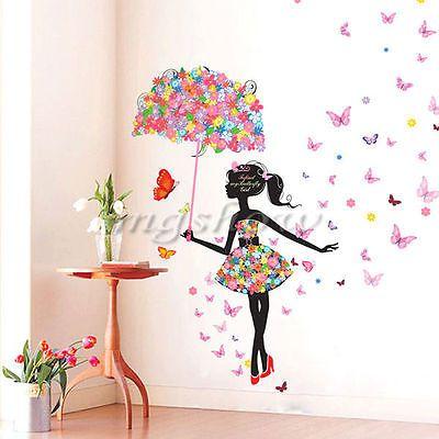 Removable Girl Flower Decals Vinyl Art Mural Wall Sticker Kids