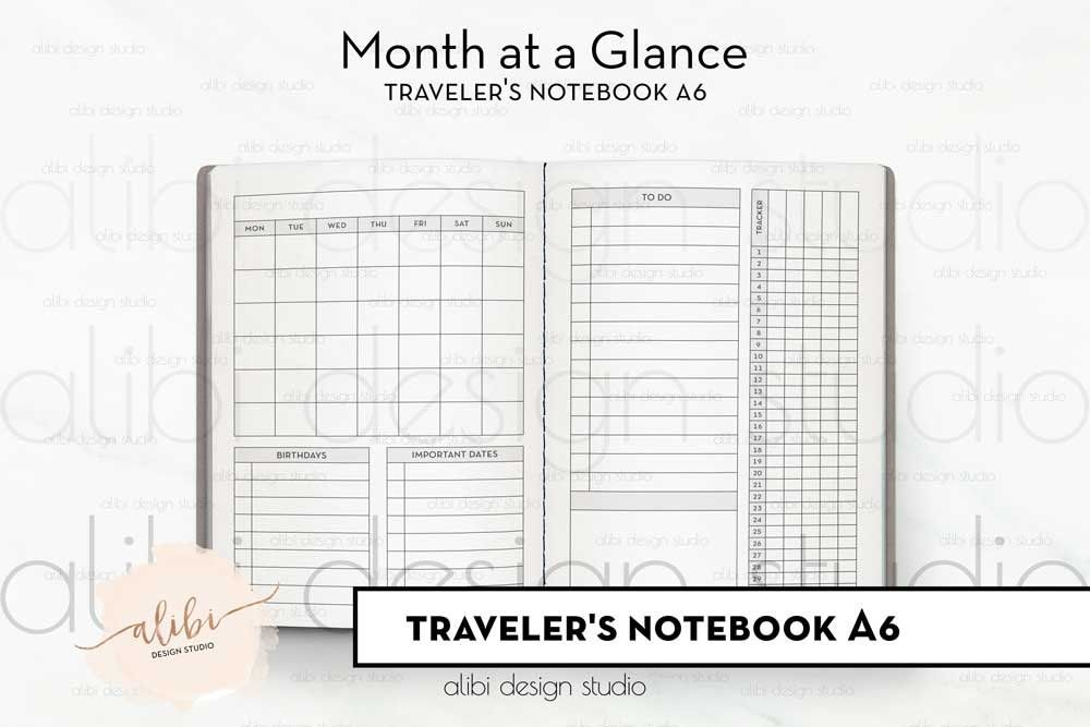 A6 Tn Monthly Planner Month At A Glance Monthly Calendar For A6