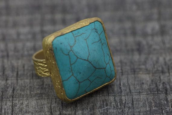 Turquoise Ring Gold Plated  Stone Ring Bohemian by bycengizbulut