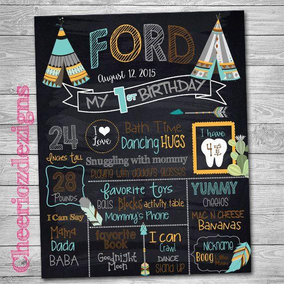 Teepee Birthday Chalkboard- Tribal Chalkboard - Milestone Birthday- Arrows Chalkboard Custom- Fall- Printable by CheeriozDezigns on Etsy