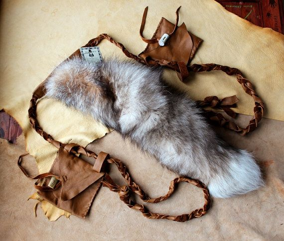 Fox tail  real ecofriendly crystal fox tail belt by thegreenwolf