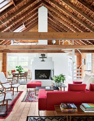 Modern Living Room with a Rustic Flair in Red and White.