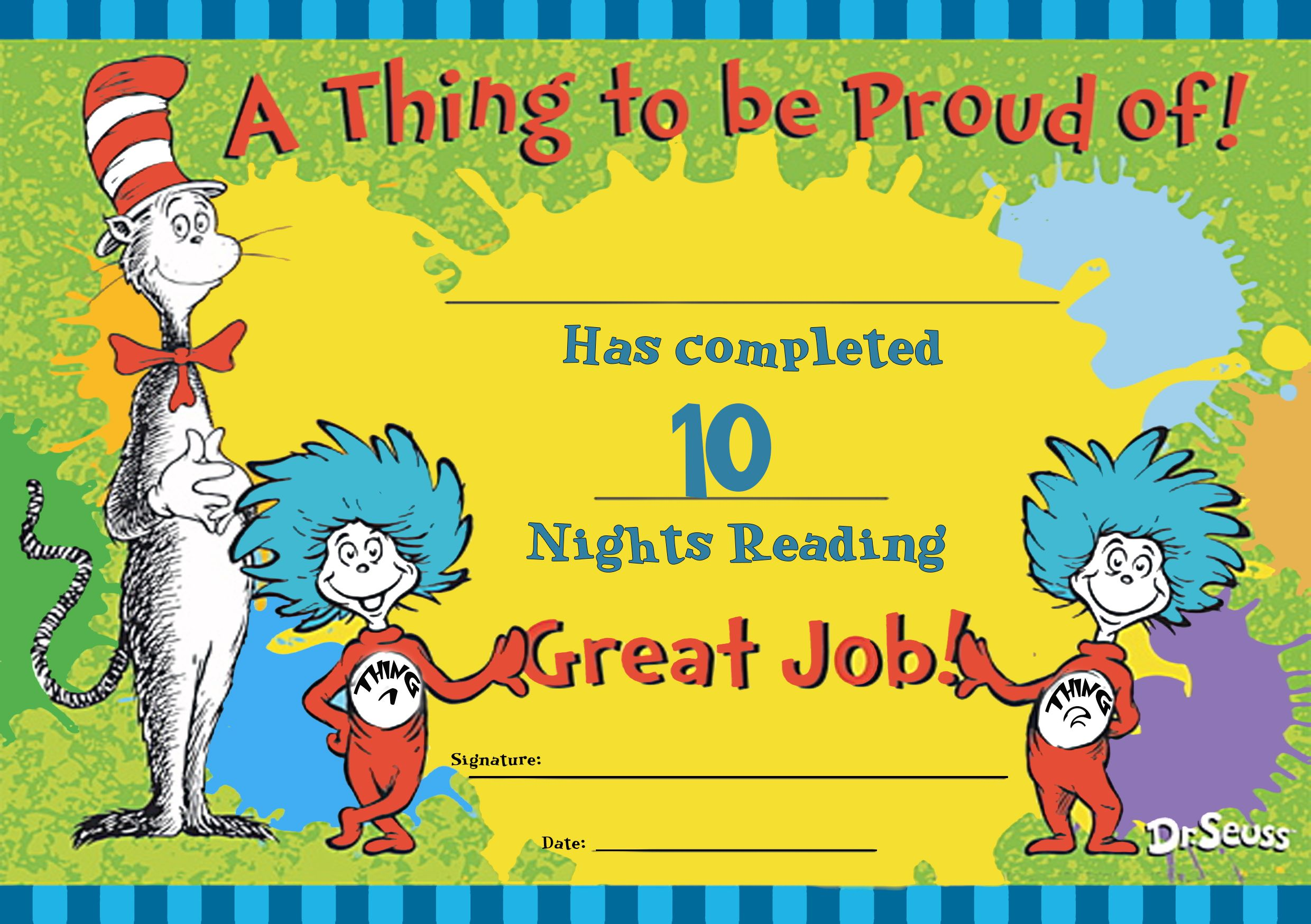 A Certificate To Celebrate 10 Nights Reading